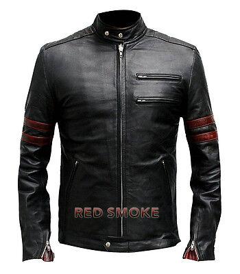 Dettagli su Da Uomo Fight Club Hybrid Mayhem Retrò Red Stripe Moto Giacca di pelle nera mostra il titolo originale