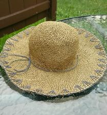 Designer Scala Collection Womens Straw Hat With Wide Brim And Gray Trim Design