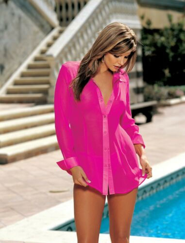 Details about  /Shirley of Hollywood Women Pure Silk Sheer Hot Pink Nightshirt Designer Lingerie