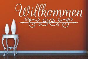 Wandtattoo-Spruch-Willkommen-Flur-Ornament-Wandaufkleber-Wandsticker-Aufkleber