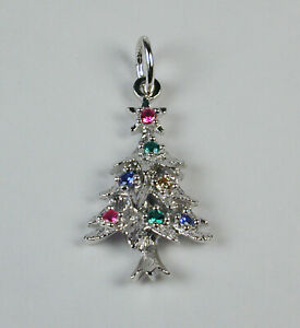 Sterling-Silver-Christmas-Tree-w-Colored-Stones-Holiday-Charm-Free-U-S-Ship