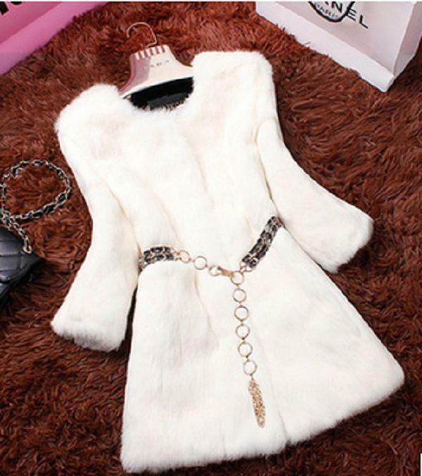 Fashion Women Ladies Genuine Authentic Real Rex Rabbit Long New Coat Outwear