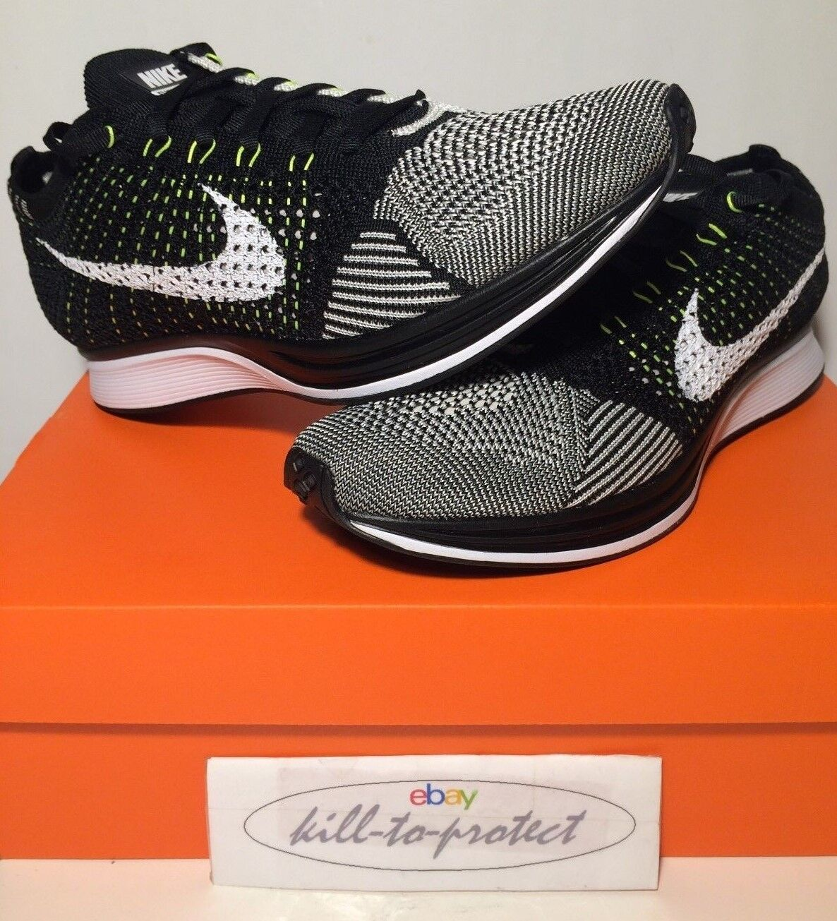 NIKE FLYKNIT RACER BLACK WHITE US UK7 8 9 10 11 12 OREO 526628-011 OG HTM 2015