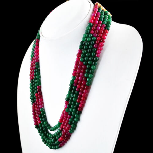 476.00 cts Earth mined ligne 5 vert émeraude /& Red Ruby ROUND BEADS NECKLACE