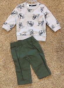 NWT-Boy-039-s-Gray-Long-Sleeve-Lions-Elephants-Top-Green-Pant-2pc-3T
