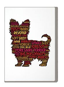 Yorkshire-Terrier-Art-Print-Word-Art-A4-A3-Mothers-Day-Gift-Personalised-Option