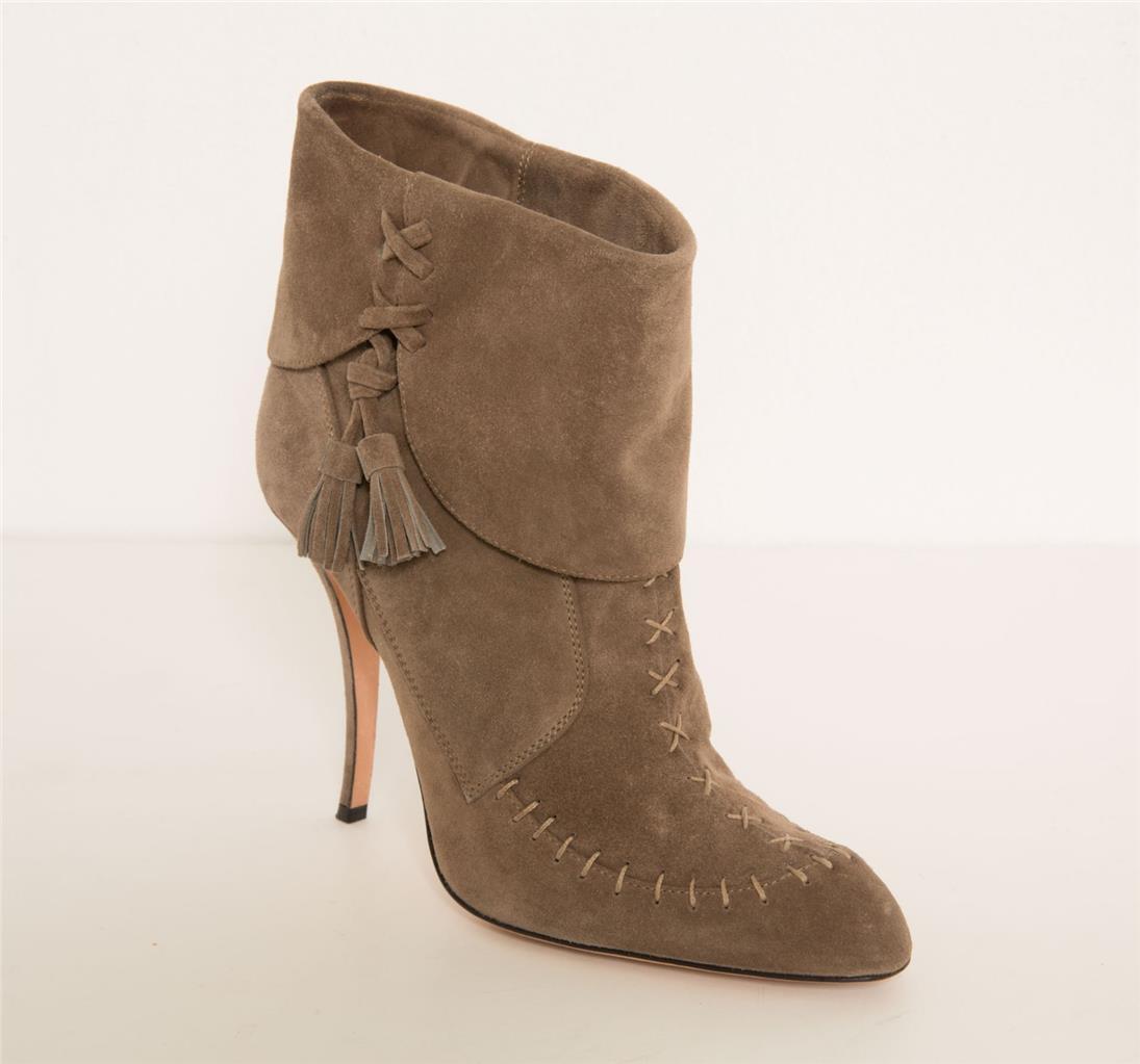 MANOLO BLAHNIK Tan Brown Suede Whip-Stitch Mocassin Tassel High Heel Boots 10-40
