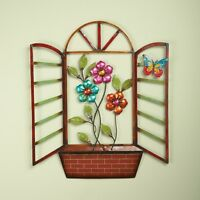 Flower Window Box Floral Butterfly Metal Wall Art Hanging Bedroom Home Decor