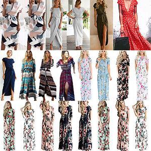 Women-039-s-Boho-Floral-Long-Maxi-Cocktail-Dress-Summer-Party-Evening-Beach-Sundress