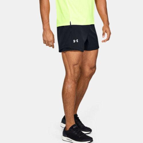 "Black Under Armour Mens Qualifier Speedpocket 5/"" Shorts Pants Trousers Bottoms"