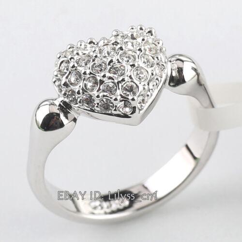 B1-R560 Love Heart Ring 18KGP Women Lady/'s Rhinestone Crystal Size 5.5-9