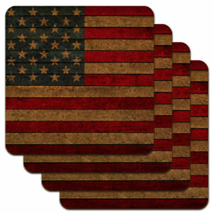 Rustic Louisiana State Flag Distressed USA Low Profile Novelty Cork Coaster Set Home Cookware, Dining & Bar Supplies Bar Coasters