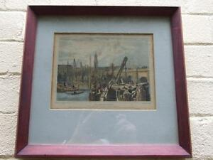 ANTIQUE COLOR ENGRAVING OF ' OLD LONDON BRIDGE '' BY J.Le Keux FRAMED ART