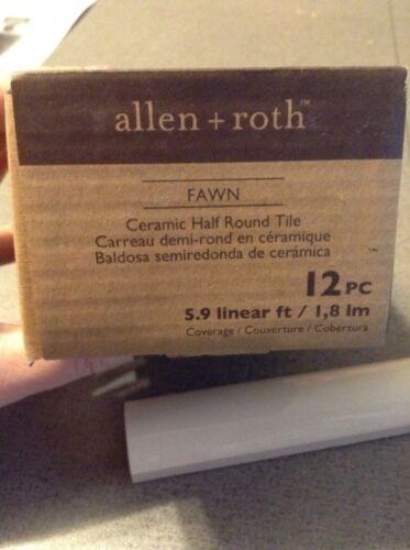 464022 ALLEN ROTH  CER120X6FHR 12-Pack Fawn Ceramic Half Round Tile 0464022