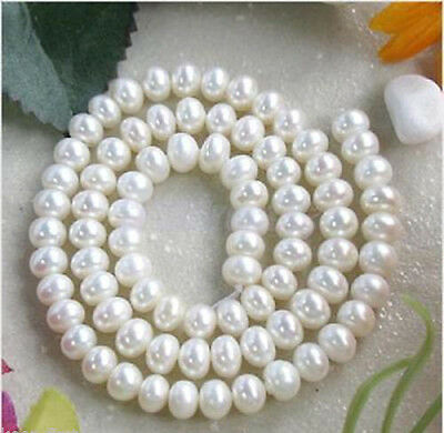 7-8MM White Freshwater Cultured Pearl Loose Bead 15/'/'