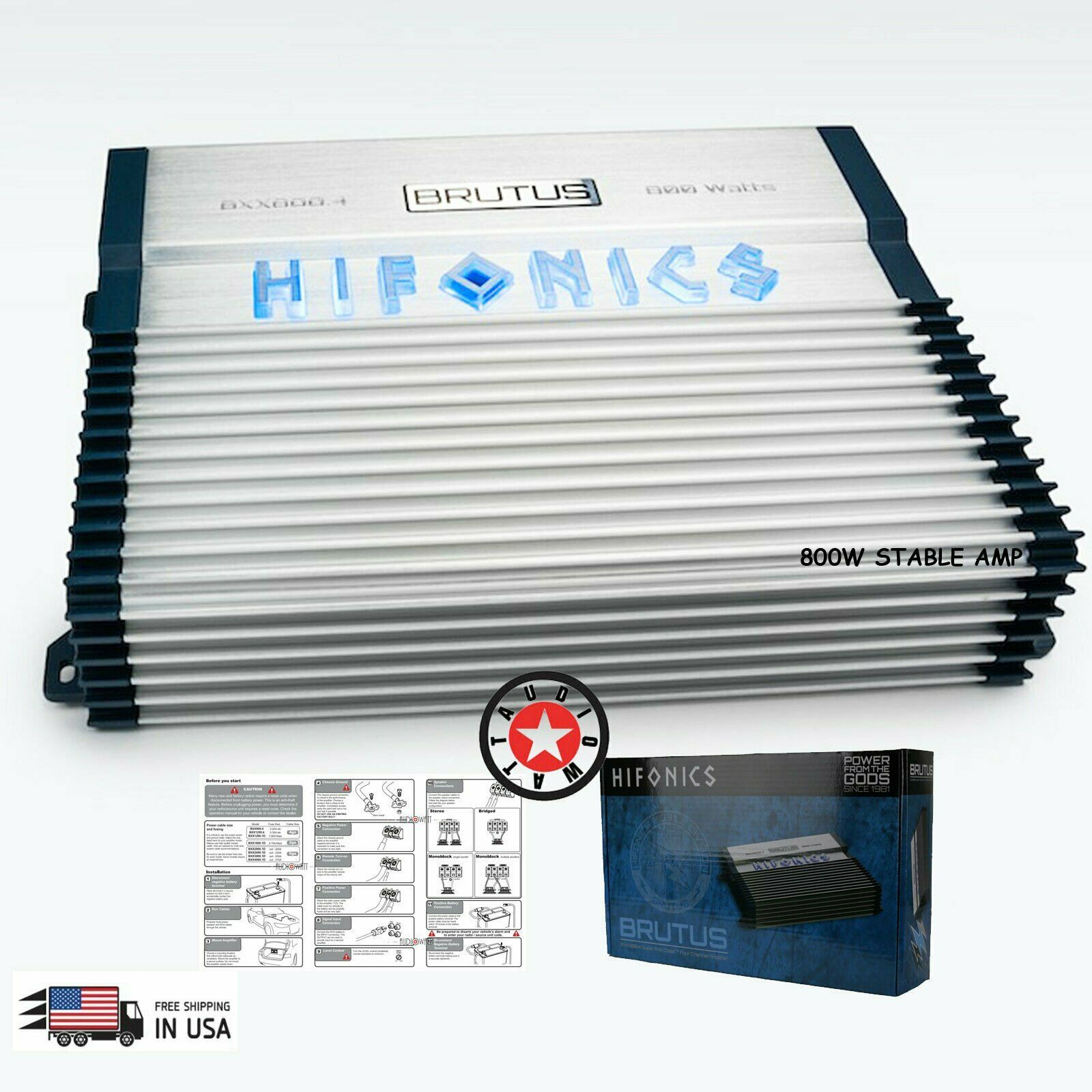 2 Pack Hifonics BXX800.4 Brutus 800W RMS A//B 4 Channel Car Audio Amplifier