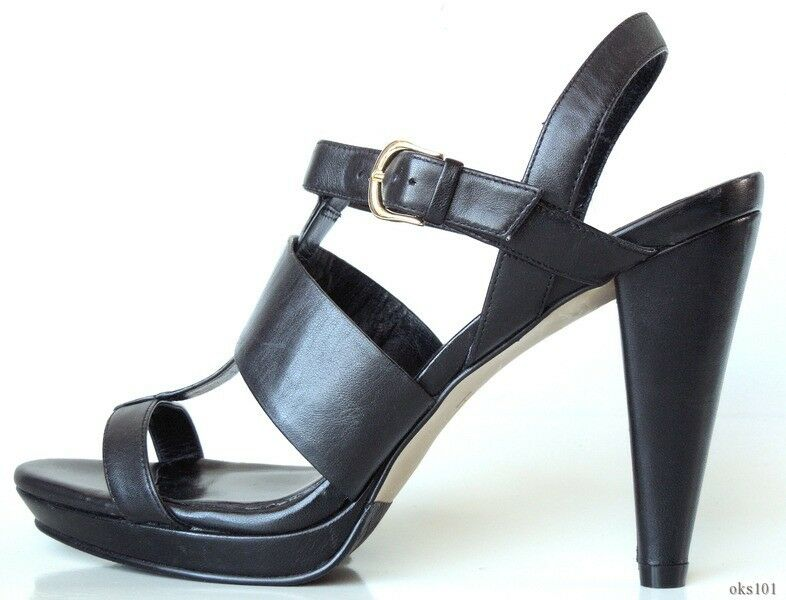 New  278 COLE HAAN  Whitney  schwarz leather open-toe T-strap schuhe 10 - fabulous