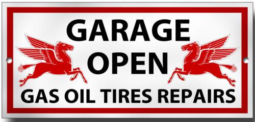 GARAGE OPEN METAL SIGN.200MM X 95MM PREMIUM QUALITY SIGN.MOBILGAS