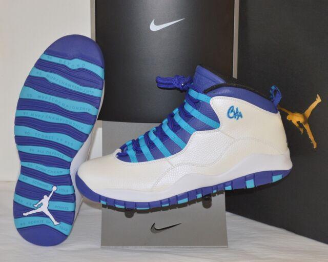 5ece90b3588 New Nike Air Jordan 10/X Retro Charlotte Hornets White/Blue Lagoon sz 11