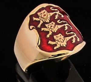 Men-039-s-Three-Lions-Richard-Lion-Heart-English-Knights-Coat-of-Arms-Power-Ring