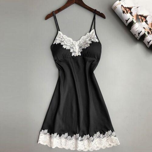 Women Ladies Satin Camis Sleepwear Nightwear Nightdress Chest Pads Lingerie xiu
