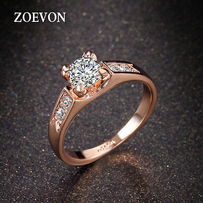 Trendy Women Lady Crystal Rhinestone Engagement Ring Wedding Band Charms For Her