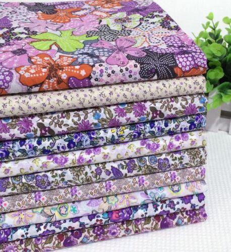 Ne10pcs bundle violet pourpre tissu de coton floral Joblot Artisanat mixtes quilting