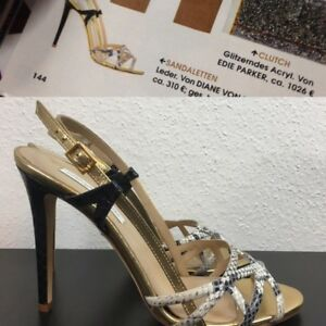 reputable site 0f967 e9de4 Details zu Diane von Furstenberg Sandaletten High-Heels Sandalen schwarz  gold