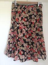 Karen Millen Skirt Size 8 Black Red Pink White Silk