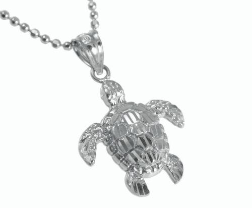 14K Solid or Blanc Brillant Diamond Cut Hawaïen tortue de mer Honu Pendentif Petit
