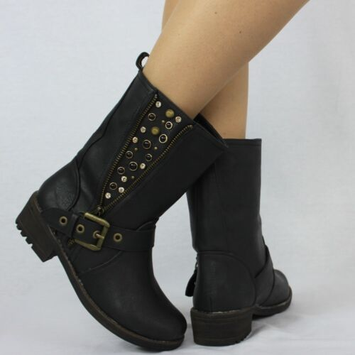 Comfort Studded Side Slip On Faux Leather Rubber Sole Black Boots UK 4 EU 37 956