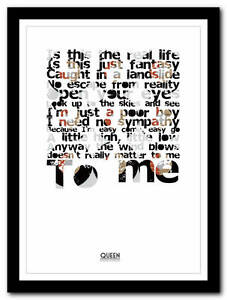 Details about Queen - Bohemian Rhapsody - song lyric poster typography art  print - 4 sizes