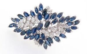 A-14k-White-Gold-1-20ct-Diamond-amp-Aust-Sapphire-Ladies-Cluster-Ring-Val-9345