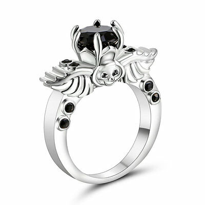 Silver Skull Black CZ Wedding Ring 10KT White Gold Filled Punk Jewelry Size 6
