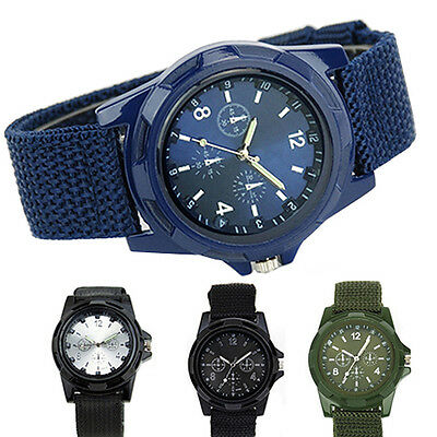 Men's Military Sport Style Woven Canvas Strap Luminous Quartz Wrist Watch B22U