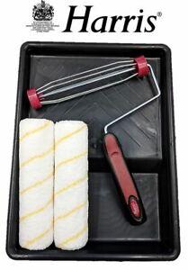 Harris-Premier-Paint-Roller-Set-9-034-Emulsion-Sleeves-Frame-Handle-amp-Painting-Tray