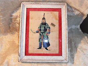 Peinture-chinoise-sur-papier-de-riz-encadree