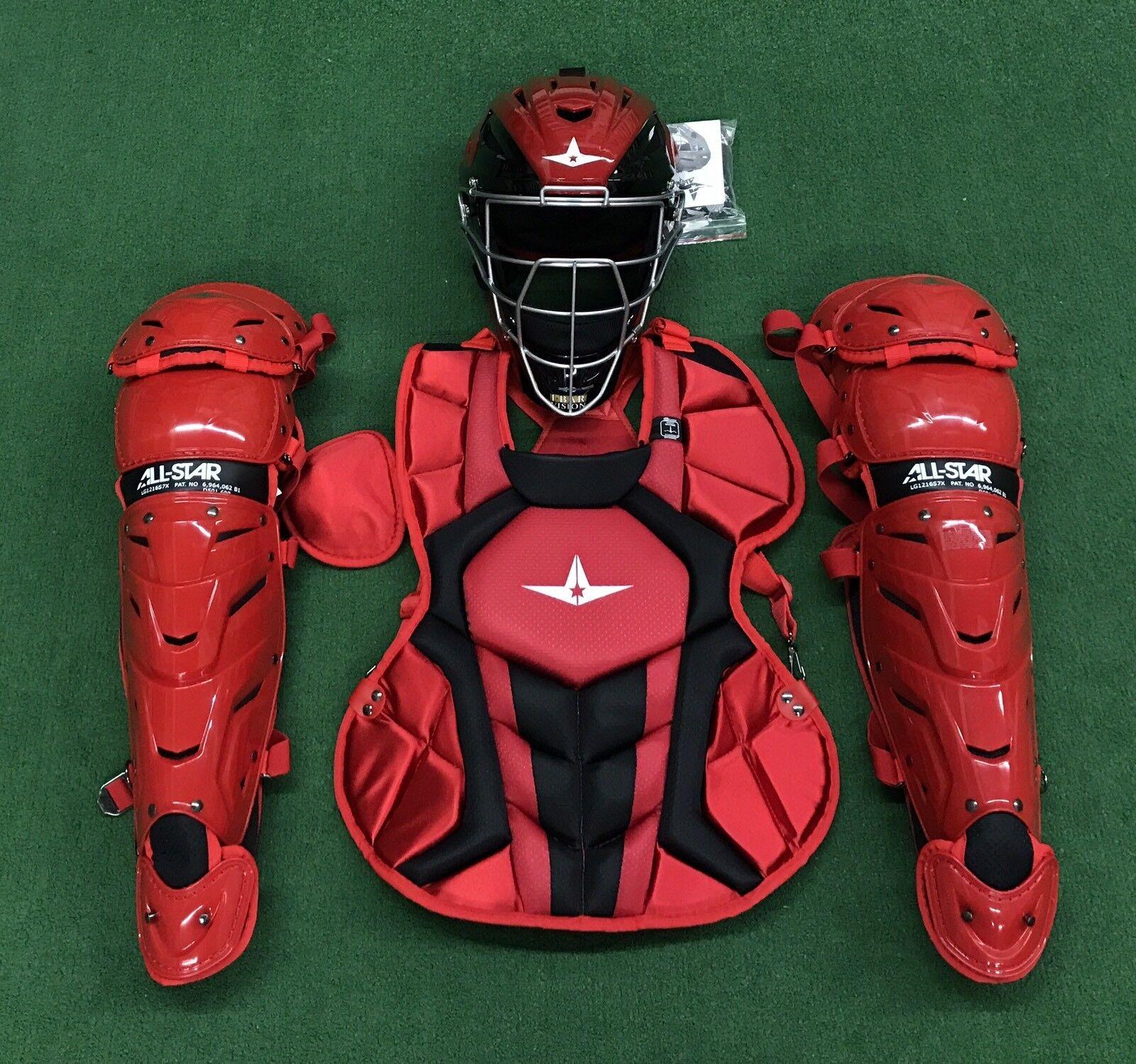 All Star System 7 Axis Intermediate 13-16 Catchers Gear Set - rojo negro