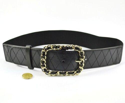AU Black Adjustable Gold Chain Buckle Girl Woman Stretch Elastic Waist Belt LT3