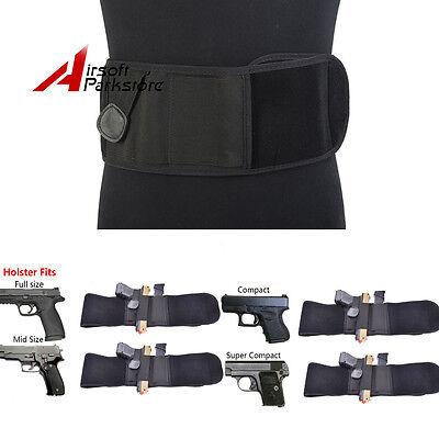 Hot Sale Waist Band Belly Band Holster Concealed Gun Carry w// Zipper Pouch BK