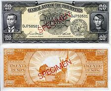 PHILIPPINES 20 Pesos Banknote World Paper Money aUN Currency Pick p-137 SPECIMEN