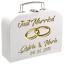 Hochzeit Pappkoffer mit Vornamen des Brautpaares und Tag der Hochzeit