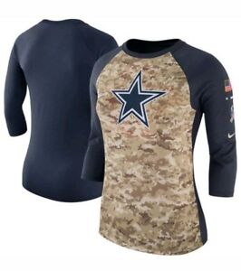 Women s Nike 2017 Salute to Service Dallas Cowboys 3 4 Raglan Shirt ... 2bf12f6e6