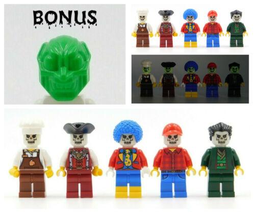 5 LEGO ZOMBIES GLOW IN THE DARK SKELETON HEADS HALLOWEEN BONUS GOBLIN HEAD