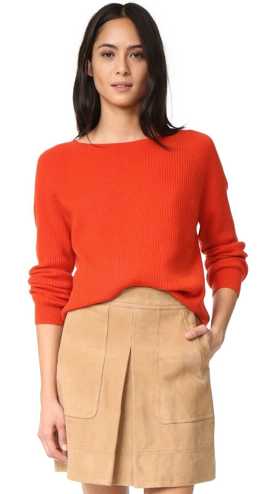 NWT Vince Raglan Ribbed Cashmere Crew Neck Sweater Orange Sunrise Größe S  320