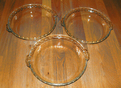 Three Lot 3 Pyrex 229 17 Glass Clear Pie Plates Pan Baking
