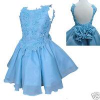 Toddler & Little Girl Formal Dress Pageant Wedding Blue Size: 1-7 Yesrs Old