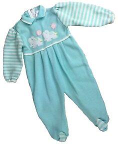 Vintage-Blue-Knit-Elephant-6-9-Months-PJ-Baby-Boy-Sleeper-W-Collar-Zipper-Back