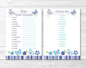 picture relating to Printable Baby Word Scramble identified as Facts over Lavender Butterfly Back garden Printable Child Shower \