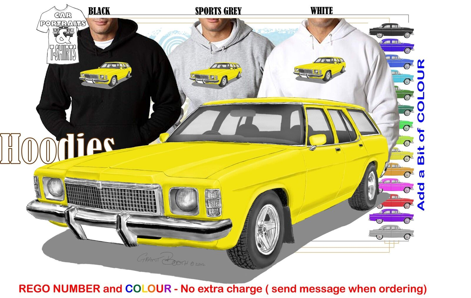 77-80 HZ HOLDEN WAGON HOODIE ILLUSTRATED CLASSIC RETRO MUSCLE SPORTS CAR